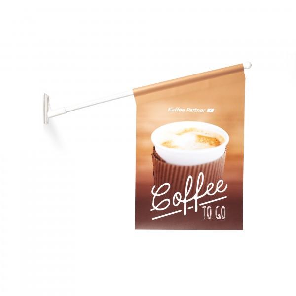 """Kaffee Partner Kioskfahne zur Außenanbringung """"Coffee to Go"""""""