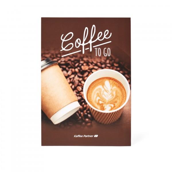 """Kaffee Partner Getränkewahlblatt A5 - Motiv """"To Go-Becher"""" Vorderseite"""